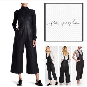 Free People Fiona Vegan leather overalls